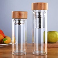 Wholesale blue glass filter resale online - Water Bottles With Tea Infuser Filter Vacuum Cups Bamboo Cover Glass Bottle For Outdoor ml ml DHB658