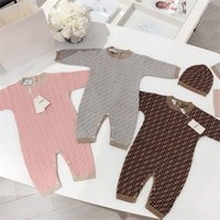 Wholesale knit baby hat resale online - Newborn Infant Baby Romper Girl Boy Designer spring autumn Warm Coat Children Kids Long Sleeve Knit Romper Jumpsuit Hat Outfits M