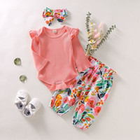 Wholesale baby half pant girl for sale - Group buy 3pcs Toddler Infant Newborn Baby Girls Kids Long Butterfly Sleeve Romper Floral Pant Headband Playsuit Outfits Jumpsuit Clothes