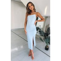 sexy pure off shoulder bodycon dress women summeer club party night Elegant midi dress Mujer Bodycon Midi Blue