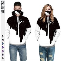 Wholesale large black white paintings resale online - jou1z Men s and women s black and white paint Starry Sky Digital printing couple s clothes large size Couple dress pullover pullover hooded