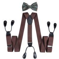 Striped Men Suspenders Botton Adjustable 6 Holes Lengthen Braces High Quality