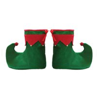 ingrosso scarpe elfi-ADULTI DA INDOSSARE ELF STIVALI PER ADULTI POM PIXIE ELF SHOES FESTA DI NATALE ROSSO VERDE fancydress COSTUME ACCESSORIO