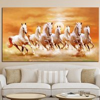 Wholesale white horses painting art resale online - Seven Running White Gold Horse Canvas Painting Modern Animal Posters and Prints Personalized Wall Art Picture for Living Room Home Decor