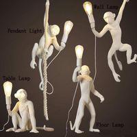 Wholesale seletti resale online - Modern Monkey Hemp Rope Pendant Light Fashion Simple Art Nordic Resin Seletti Hanging Monkey Lamp White Black