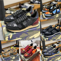 Wholesale men runners resale online - 2020 Fashion Suede Stud Rivet Shoes Men Women Camouflage Leather Sneakers Flats Runner Trainers Sport Casual Shoes Unisex EUR36 With Box