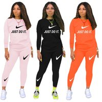 Wholesale two piece boxes for sale - Group buy Women Designer Brand Sweatsuit Two Piece Set Hoodies Pants Fall Winter Sports Suit Crew Neck Sportswear Fashion Tracksuit Letter Suit