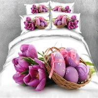Wholesale 3d bedding set for adults resale online - Easter Decor Egg Floral Bed Cover Set D Printed Duvet Cover Set EU Single Size Bedclothes Pillowcase Bedding for Adult