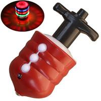 Wholesale LeadingStar Children LED Light up Music Wood Like Peg top Hand Spinner Plastic Flash Gyro Toy Gift for Kids children