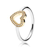Wholesale jewelry two tones gold set resale online - Authentic Sterling Silver Two tone Symbol Of Love Heart Ring Ring Luxury Designer Jewelry Women CZ Stones Golden Rings with Pandora Box