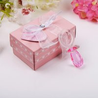 Wholesale crystal baby pacifiers resale online - Crystal Baby Shower Favors Newborn Baby Gift set Lover Crystal Pink Pacifier Baby Souvenir LX2396