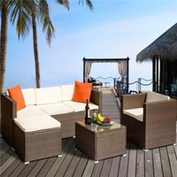 gartenmöbel terrasse sets  groihandel-Rattan Patio-Möbel Set Wicker Sofa Cushioned Sectional-Möbel Set Garten Innenhof Sofa-Satz 4 Stück Brown