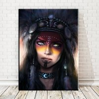 Wholesale indian abstract art paintings resale online - Indians Women Feather Abstract Nordic Posters and Prints Art Canvas Painting Home Decor Wall Pictures For Living Room