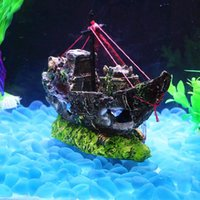 Wholesale sail boat decorations for sale - Group buy Fish Tank Decoration Wreck Sunk Ship Aquarium Ornament Sailing Boat Destroyer Fish Tank Cave Decor Landscape Decor Sailing Boat