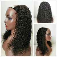 Brazilian Virgin Water Wave U Part Human Hair Wigs For Black Women Unprocessed Curly Glueless U Shape Wig Invisable Braided Full Tips Wig