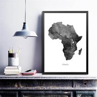 Wholesale black white grey home decor resale online - Africa Map Posters and Prints Watercolor Map Travel Wall Art Canvas Painting Grey Black White Picture for Living Room Home Decor