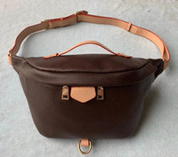 Wholesale famous pack resale online - New Fashion Pu Leather Brown flower Handbags Women Bags Designer Fanny Packs Famous Waist Bags Handbag Lady Belt Chest bag