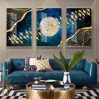 Wholesale framed painting bird resale online - Abstract Moon Wall Art Canvas Painting Golden Mountain Birds Nordic Posters and Prints Wall Pictures for Living Room Home Decor