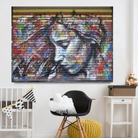 Wholesale street art painting frame for sale - Group buy Home Decor Canvas Painting Graffiti Street Wall Art Girl Picture Canvas Prints Modern Wall Pictures for Living Room No Frame
