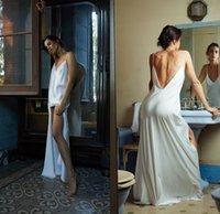 Wholesale make lingerie for sale - Group buy Sexy Bridal Bathrobe Silk Spaghetti Long Lingerie Nightgown Pajamas Sleepwear Women Side Split Housecoat Nightwear Lounge Wear