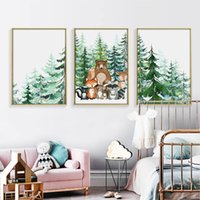 Wholesale animal art painting photos for sale - Group buy Cartoon Forest Animal Photo Bear Owl Fox Squirrel Deer Wall Art Canvas Painting Poster And Print Picture For Living Room Home De