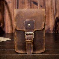 Wholesale men leather waist bag mini resale online - Mens Waist Pack Genuine Leather Pouch Waist Bag For Men Fanny Pack Cow Leather Mini Phone Bag Vintage Big Wallet Belt Loop