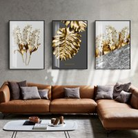 arte de la pared de la flor blanca negra al por mayor-Nordic Golden abstract leaf flower Wall Art Canvas Painting Black white feathers Poster Print Wall Picture for Living Room Decor