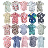 Wholesale infant baby girl costumes resale online - Kimono baby clothes japanese style kids clothes girls romper bathrobe uniform clothes infants pajamas floral Costume