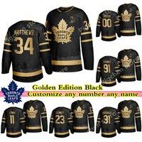 Wholesale auston matthews resale online - Toronto Maple Leafs Golden Edition Black Jersey John Tavares Matthews Rielly Andersen Muzzin custom any number any name hockey jersey