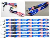 Wholesale moble phones online – 3 types hot TRUMP lanyards U S A Removable Flag of the United States Key Chains Badge Pendant Party Gift moble phone lanyard LJJA4260