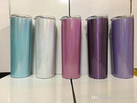 Wholesale stainless steel beer mugs for sale - Group buy 20oz Stainless Steel Skinny Tumbler Rainbow Tumblers Glitter Tumblers Vacuum Insulated Beer Coffee Mugs with Lid and Straw