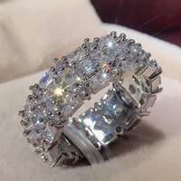 Fashion High-quality Silver Plated Wedding Rings Luxury Inlaid Cubic Zirconia Engagement Promise Ring for Women Jewelry