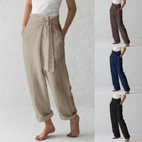 Casual Cotton Linen Women High Waist Wide Leg Pants Spring Summer Office Band Loose Palazzo Trousers Female Black Gray Pants