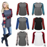 Discount green plaid women s shirt Plus Size Plaid Panel Raglan Women T Shirt Long Sleeve Patchwork Blouse T-shirt Spring Autumn Pullover Casual Shirts Tops Ladies Top Clothes