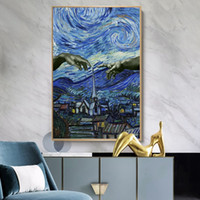 Wholesale famous impressionist paintings resale online - Starry Night Famous Oil Painting By Van Gogh Art Reproduction Posters and Prints Impressionist Wall Art Pictures Bedroom Home Decoration