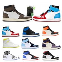 Wholesale patent leather basketball shoes for sale - Group buy 2021 Mens s high og basketball shoes jumpman Royal Toe Obsidian UNC Patent Pine Green Fearless Tie Dye men women trainers sports sneakers