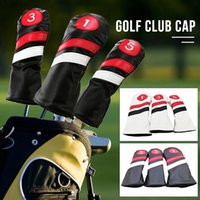 Wholesale 3PCS Golf Head Covers Driver Fairway Wood Headcovers Black Red White Vintage PU Leather Driver Fairway Head Covers CNqI