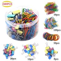 Wholesale paper binder clips metal for sale - Group buy 240pcs Metal Binder Clips Pape Clips Dovetail Rubber Bands For School Office Home Colorful Stationery Set File Clip Photo Clamps