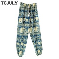 Wholesale elephants pants resale online - TCJULY Bohemian Style Elephant Patterns Printed Harem Pants Women Drawstring Ankle Banded Wide Trousers Ladies Cool Summer Pants