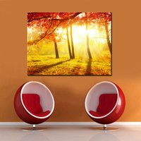 Wholesale autumn tree paintings for sale - Group buy Wall Art Canvas Painting Home Decor HD Prints Piece Red Tree Pictures Autumn Carpet In The Forest Poster Living Room Frame