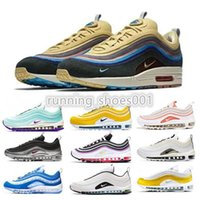 running shoe 97 venda por atacado-Nike air max 97 shoes Bred airmax 97 Mens Running shoes Realtree White Evergreen Sunburst UNDEFEATED UNDFTD Olive Triple black Team Red Men women sports Sneakers 36-45