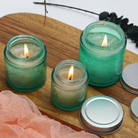 Wholesale glass etch resale online - 80g g g green large mouth glass empty jar for scented candle DIY handmade candle