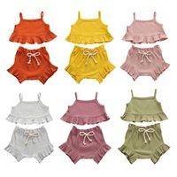 Wholesale girls vest pullover for sale - Group buy Kids Girls Ruffle Outfits Colors Sling Vest Tops Infant Toddler Casual Baby Clothes Lace Elastic Shorts Newborn Baby Clothing Sets