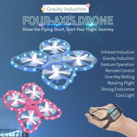 Wholesale coolest rc toys for sale - Group buy RC Drone UFO Toys Gravity Iduction Four Axis Remote Control Drone Cool Light Sensing Gesture Electronic Quadcopter Model Kids Boys Gift