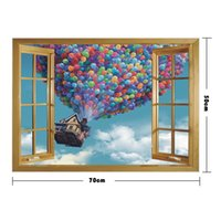 Wholesale background wallpaper landscape for sale - Group buy Hot selling D landscape wall sticker wallpaper fake window self adhesive living bedroom background waterproof decoration pvc wall sticker
