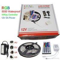Wholesale clear wire led lights resale online - Led Strip Light RGB M SMD Led Waterproof IP65 With Key Controller With A Power Supply Plug With Retail Package Christmas Gifts