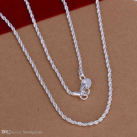 Wholesale 925 sterling silver chains twisted resale online - Top Quality Sterling Silver Men Women Twist ROPE Chain Necklaces MM inch inch inch inch inch inch inch inch