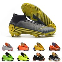 Wholesale cleats for soccer ronaldo resale online - Mens FG Cleats Grey Yellow Super Fly VI Elite Neymar High Ankle Outdoor Soccer Shoes Ronaldo CR7 Mercurials Football Crampons Boots for Male