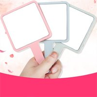 Wholesale mirrors sales resale online - Square Makeup Mirror Clear Hand Mirrors Handle Flat Muti Colors Holding Looking Glass Make Up Decorative Hot Sale ch C2