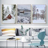 Wholesale painting snow landscape resale online - Modern Winter Snow Landscape Wall Art Canvas Poster Nordic Print Painting Scandinavian for Living Room Picture Home Decor